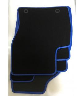 Ford Focus 2005-11 alfombrillas ribete piel azul